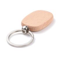 Llavero 8 cm con chapa de madera oval 53x32 x7 mm