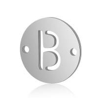 Letra B - Entrepieza inicial acero plateado 12 mm, int 0.8 mm