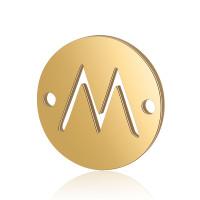 Letra M - Entrepieza inicial acero dorado 12 mm, int 0.8 mm