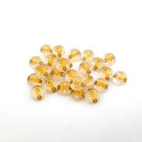 Abalorio estrellas, lunas .. blanco y dorado 7 mm, int 1.5 mm (20 uds)