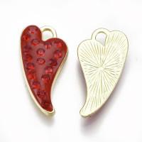 Colgante charm corazon enamel rojo con circonitas 24.5x13 mm, int 2.5 mm