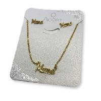 Mamá - Conjunto collar y pendientes de acero dorado