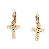 Cruces caladas 13 mm- Pareja pendiente acero con cierre catalan