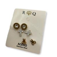 Circulo,cruz y tijeras strass- Pendientes de acero dorado (3 pares)