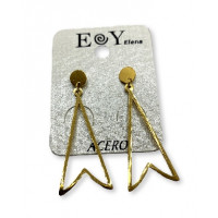 Triangulo dorado 40 mm- Pendientes de acero dorado(1 par)