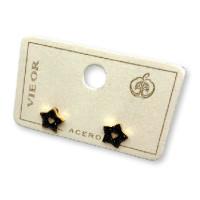 Estrellita pequeña negra- Pendientes de acero dorado (1 par)