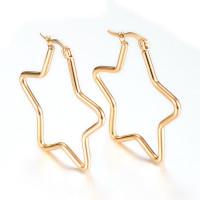 Aros estrellas doradas 38 mm - Pendientes acero dorado inoxidable
