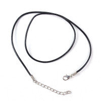 Base collar cordon cuero negro 43 cm 1.5 mm grosor