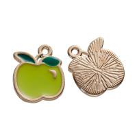 Colgante enamel fruta manzana verde 15x13 mm