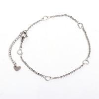 Pulsera acero inoxidable cadena fina con corazones 23 cm + 5 cm cadenita extendora