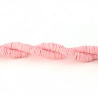 Rondel disco 5 mm arcilla Rosa pastel - 5x1 mm- Hilera de 39 cm - 300 uds aprox