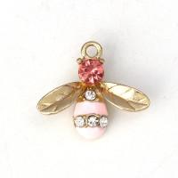 Colgante charm circonitas y enamel insecto abeja 17x15 mm
