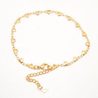 Tobillera Acero dorado Inoxidable cadenita Corazones 22.3 +4.8 cm