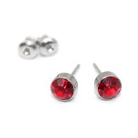 Pendientes acero inoxidable plateados con strass rojo 6 mm - 1 par
