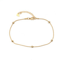 Tobillera Acero dorado Inoxidable cadena bolitas y bolas 23 +4.8 cm