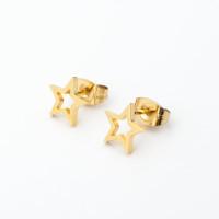 Estrellas 8 mm - Pendientes acero dorado inoxidable