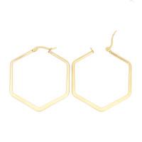 Hexagonos dorados 40x46 mm -Pendientes acero inoxidable