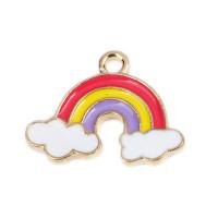 Colgante enamel arcoiris y nubes 19x14 mm