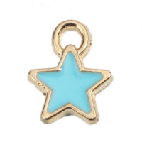Colgante enamel estrella 8x7 mm dorada y turquesa, int 1.3 mm