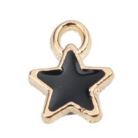 Colgante enamel estrella 8x7 mm dorada y negra, int 1.3 mm