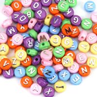 Abalorio redondos abecedario colores letras plateadas 10 mm, int 2.2 mm (100 uds)