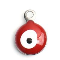 Ojo turco rojo - Colgante acero inoxidable plateado 11x8 mm