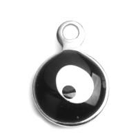 Ojo turco negro - Colgante acero inoxidable plateado 11x8 mm