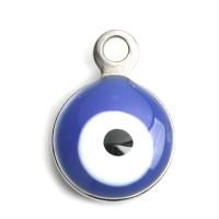 Ojo turco azul - Colgante acero inoxidable plateado 11x8 mm