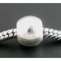 Bola metalica plateada 9.5x8 mm ( taladro 5 mm) (10 uds)