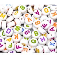 Abalorio redondos abecedario blanco letras color 7 mm (250 uds)