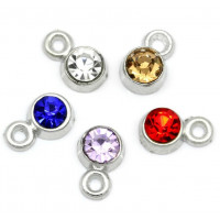 Colgante plateado strass mix colores 8x5 mm (5 uds)