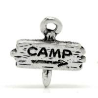 Cartel camping  - Colgante charm plateado 13x13 mm