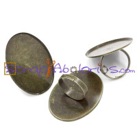 Base anillo bronce 17.9 mm, con camafeo 40x30 mm