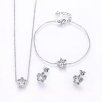 Estrella circonita blanca - Conjunto collar, pulsera y pendientes acero plateado