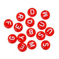 Abalorio redondos abecedario rojo con letras blancas 7 mm, int 1.5 mm (250 uds)