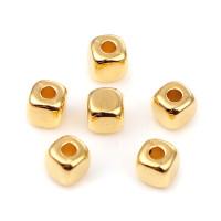 Cubos dorados abalorios acrilicos 3x3 mm, int 1.4 mm - 250 uds
