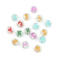 Abalorio redondos abecedario colores mix transparente Glitter 7 mm (200 uds)