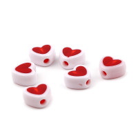 Abalorio corazon blanco y rojo 8x7 mm, int 1.8 mm (20 uds)