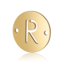 Letra R - Entrepieza inicial acero dorado 12 mm, int 0.8 mm
