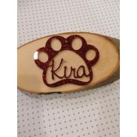 Huella PLEXY COLOR de mascota 9 cm nombre personalizado POR ENCARGO  (15 días aprox)