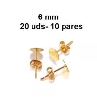 Kit bases pendientes dorado 6 mm (10 pares) - Bases pendiente palillo acero inoxidable