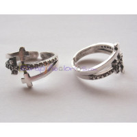 Base anillo  ZAMAK  baño plata ajustable 20x15 mm- Triple cruz