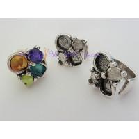 Base anillo ZAMAK baño plata engarzes piedras 27 mm. Pequeño ajustable