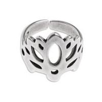 Base anillo zamak baño plata flor de loto  T17 ajustable