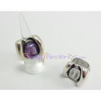Base anillo ZAMAK baño plata ajustable  solitario 26x23  mm.