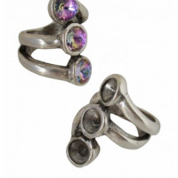 Base anillo ZAMAK baño plata con 3 huecos para Swarovski SS39
