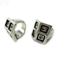 Base anillo ZAMAK baño plata cuadrado con base para piedra