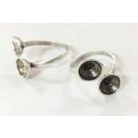 Base anillo fino ZAMAK baño plata  2 huecos para Swarovski SS39