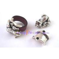 Base anillo ZAMAK plateado para cuero plano 10 mm.JAGUAR