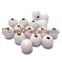 Bolsita 20 bolitas de madera antibaba 10 mm - Color Blanco 01